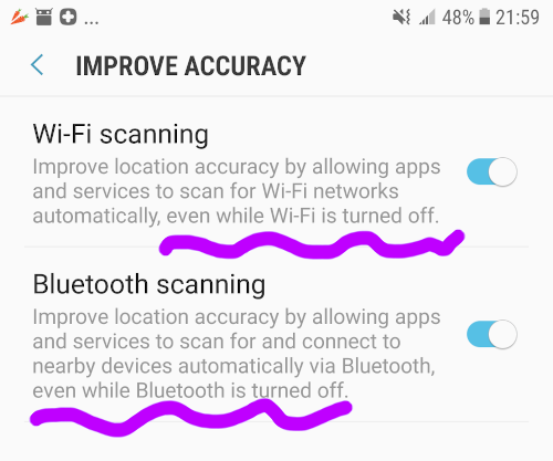 "Google scans Wi-Fi and Bluetooth hotspots even when the features are ""off"""