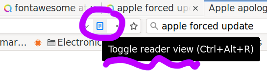 Firefox Reader view; shortcut is Ctrl+Alt+R